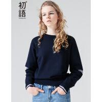 初语2017秋季新款 假两件式条纹宽松长袖圆领毛衣女