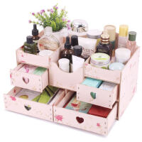 整理盒收纳架大号化妆盒架木质抽屉式桌面化妆品收纳盒