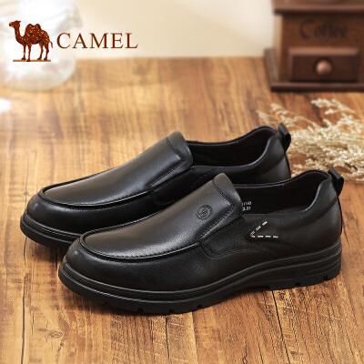 骆驼牌 男鞋 新品头层牛皮套脚商务休闲男鞋舒适低帮鞋