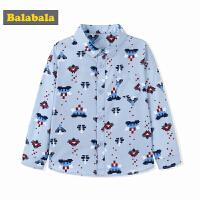 巴拉巴拉童装男童衬衫长袖小童宝宝秋装2017新款印花儿童衬衣