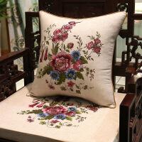 旗舰 2019网红新款 新中式古典棉麻亚麻刺绣抱枕红木沙发靠枕实木家具椅子靠垫定制套