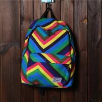 2018新款帆布双肩包学院风校园中学生书包女条纹涂鸦休闲旅行背包潮