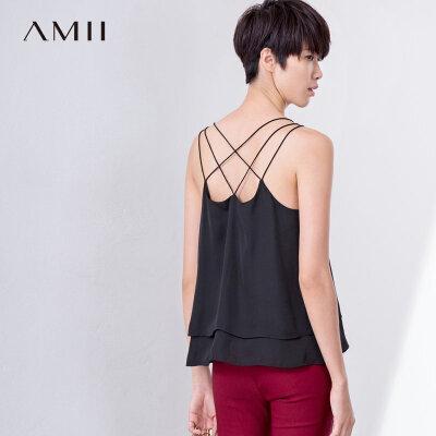 Amii2018夏新品交叉细吊带双层雪纺纯色背心11722830.0