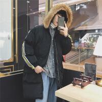 棉衣男中长款冬季大毛领羽绒学生情侣装宽松面包服女棉袄外套