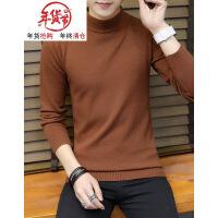 半高领毛衣男士韩版个性针织衫加厚冬长袖纯色小中领打底衫男潮流