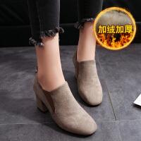 秋冬季新款2019韩版短靴女靴子时尚百搭粗跟中跟踝靴方头单靴女鞋 加绒款