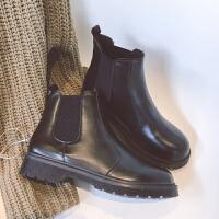 2019圆头马丁靴短靴女秋冬季厚底短筒单靴平底切尔西靴机车靴子潮