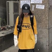 早秋韩国芥末黄字母印花拼接假两件长袖T恤学生打底女超火