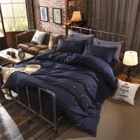 床上用品纯色四件套仿全棉素色酒店三件套 四件套床单被套 2.
