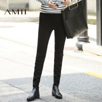 【1件8折/2件6折】AMII[极简主义]秋新品黑色修身薄款大码打底裤外穿女11682956