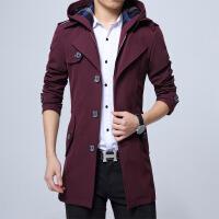 秋冬季新款风衣男士中长款韩版修身加绒加厚休闲外套加肥加大码潮