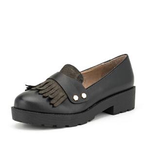 【3折到手价149.7元】索菲娅Safiya牛皮圆头中跟套脚流苏秋深口单鞋女SF63112094