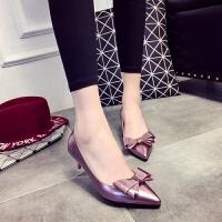 大东同款同款秋季新款红色甜美公主蝴蝶结婚鞋尖头细跟中跟鞋女鞋单鞋