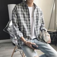 文艺男格子衬衫男士长袖衬衣夏季2017新款韩版学生宽松休闲港仔潮