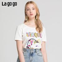 【清仓5折价62】Lagogo/拉谷谷2019夏季新款撞色印花V领镂空短袖T恤女IATT315A08