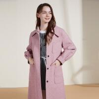 秋水伊人毛呢外套冬装2020年新款韩版时尚气质中长款双面呢外套女