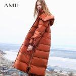 【AMII大牌日 2件4折】Amii极简90绒加厚羽绒服女士2018冬装新款白鸭绒长款面包服外套