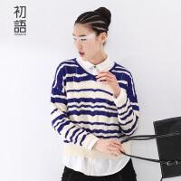 初语冬季新品  不规则撞色条纹蝙蝠袖长袖针织衫女8530323032