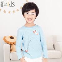 初语童装 冬季新品 男童打底衫 百搭圆领长袖T恤棉质上衣 T5301110251