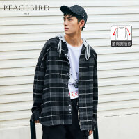 太平鸟男装 格子衬衫男2019新款黑白格纹休闲潮流宽松连帽衬衣男