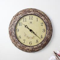 创意钟表时钟挂钟客厅大气静音石英钟个性挂表家用壁钟圆形地中海 18英寸