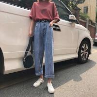 牛仔裤女秋季韩国复古高腰薄款直筒裤百搭宽松长裤阔腿裤 X