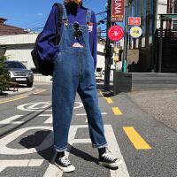韩版背带裤女2019秋冬卡通刺绣宽松原宿风学生牛仔裤 蓝色