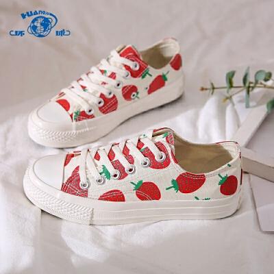 环球2020夏季新款草莓帆布鞋子女韩版百搭休闲学生高帮小白鞋板鞋