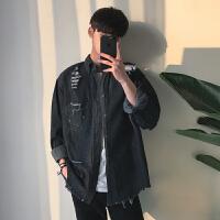 韩国潮流复古磨破水洗长袖牛仔衬衫男日系BF风原宿毛边春秋外套潮