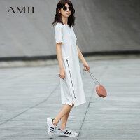 【AMII 超级品牌日】Amii[极简主义]2017夏装新款大码休闲印花口袋开衩连衣裙11722225