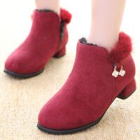 女童短靴加绒冬鞋公主鞋冬季新款儿童靴子中大童毛毛鞋韩版雪地靴