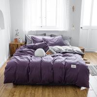 全棉加厚水洗棉床单四件套北欧风宿舍纯棉床上床单被套床笠三件套 降紫 浅灰