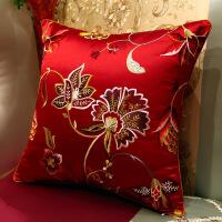 【人气】中式抱枕靠垫套红木沙发刺绣腰枕靠背【】