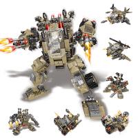 儿童塑料机甲机器人军事变形积木金刚拼装玩具