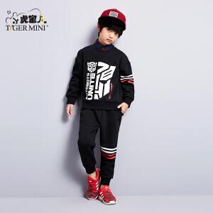 小虎宝儿童装男童春秋套装儿童卫衣两件套2018春季新款潮变形金刚