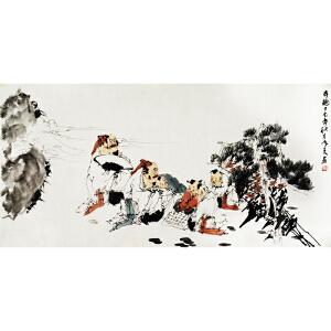 刘寒天《弈趣图》著名画家刘郑公之子