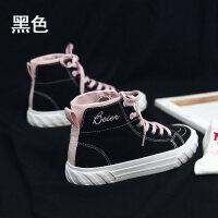 帆布鞋女新款高帮纯洁绿复古港味鞋韩版百搭学生板鞋街拍女鞋 Q1-83黑色