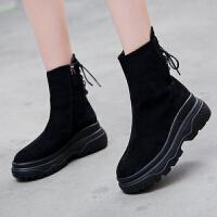 韩版马丁靴女英伦风短靴冬季松糕鞋春秋厚底短筒棉靴女靴雪地棉鞋 黑色(单里款) 35码(标准码)