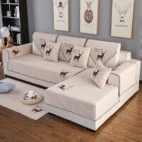 四季纯棉沙发垫纯色老粗布沙发垫现代防滑全棉布艺沙发坐垫子