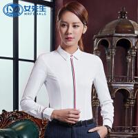 2018新款修身女士职业衬衣白色翻领长袖正装衬衫工装女装