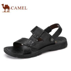 camel骆驼男鞋  夏季新品凉鞋 沙滩鞋男士透气 牛皮露趾凉鞋