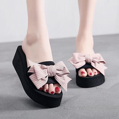 沙滩拖鞋女外穿时尚高跟海边休闲坡跟夏网红凉拖鞋蝴蝶结拖鞋 5.5厘米高跟 粉色