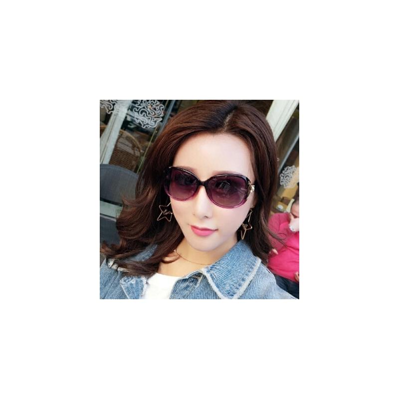 新款女士偏光太阳镜圆脸墨镜女潮明星同款时尚眼镜驾驶开车眼镜 偏光(送眼镜盒+布)
