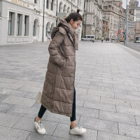 冬季长款女长过膝新款2018韩版羽绒棉衣修身显瘦棉袄加厚外套 咖啡格 M