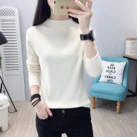 半高领毛衣女套头秋冬韩版新款纯色短款长袖修身针织衫打底衫上衣 米白 S