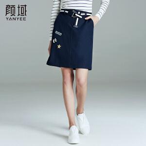 颜域品牌女装2017秋冬新款时尚品牌直筒中腰包臀中长款牛仔半身裙