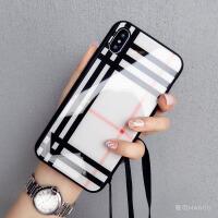 玻璃壳苹果xs手机壳7plus硅胶潮牌iphone8新款6s带挂绳欧美大气女 6/6s 4.7寸
