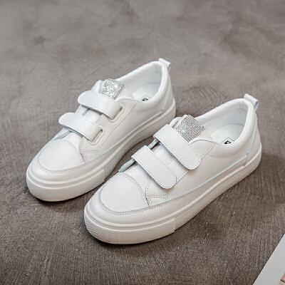鞋子2019新款女秋季韩版女鞋子魔术贴时尚百搭板鞋女休闲小白鞋女