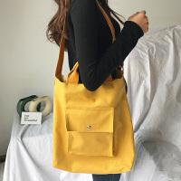 日韩新款帆布单肩包大容量购物袋休闲斜挎手提女包小清新百搭包包