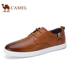 camel骆驼男鞋  夏季新品 时尚休闲休闲皮鞋牛皮系带男士皮鞋